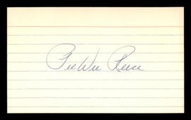 Pee Wee Reese Autographed 3x5 Index Card Brooklyn Dodgers SKU #189619