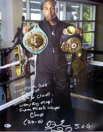 "Andre Ward Autographed 16x20 Photo ""2004 Olympic Gold Medalist, Super 6 Champ, WBA/Ring Mag Super Middle Weight Champ, 27-0, SOG"" Beckett BAS #V61292"
