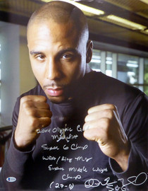 "Andre Ward Autographed 16x20 Photo ""2004 Olympic Gold Medalist, Super 6 Champ, WBA/Ring Mag Super Middle Weight Champ, 27-0, SOG"" (Crease) Beckett BAS #V61295"