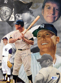 Mickey Mantle Autographed 9.5x13 Magazine Collage Photo New York Yankees Beckett BAS #A34676