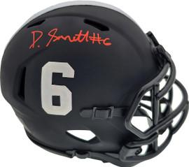 Devonta Smith Autographed Eclipse Black Alabama Crimson Tide Speed Mini Helmet Beckett BAS Stock #189550