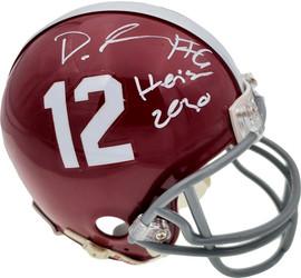 "Devonta Smith Autographed Alabama Crimson Tide Mini Helmet ""Heisman 2020"" Beckett BAS Stock #189553"