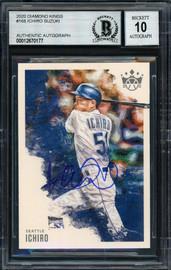 Ichiro Suzuki Autographed 2020 Panini Donruss Diamond Kings Card #168 Seattle Mariners Auto Grade 10 Beckett BAS Stock #189973