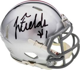 Justin Fields Autographed Ohio State Buckeyes Silver Speed Mini Helmet Beckett BAS Stock #189797