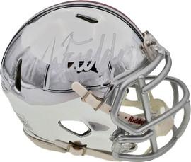 Justin Fields Autographed Ohio State Buckeyes Chrome Silver Speed Mini Helmet Beckett BAS Stock #189798