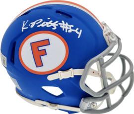 Kyle Pitts Autographed Florida Gators Flat Matte Blue Speed Mini Helmet Beckett BAS Stock #189800