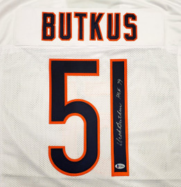 "Chicago Bears Dick Butkus Autographed White Jersey ""HOF 79"" Beckett BAS Stock #189801"