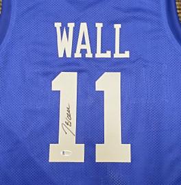 Kentucky Wildcats John Wall Autographed Blue Jersey Beckett BAS Stock #189804