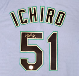 "Seattle Mariners Ichiro Suzuki Autographed Light Blue Majestic 2019 Spring Training Jersey Size L ""51"" IS Holo Stock #189994"