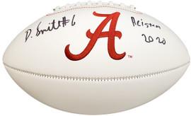 "Devonta Smith Autographed Alabama Crimson Tide White Logo Football ""Heisman 2020"" Beckett BAS Stock #190002"