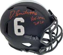 "Devonta Smith Autographed Alabama Crimson Tide Eclipse Black Speed Mini Helmet ""Heisman 2020"" Beckett BAS Stock #190003"