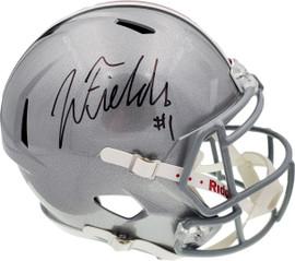 Justin Fields Autographed Ohio State Buckeyes Silver Replica Speed Full Size Helmet Beckett BAS Stock #190011