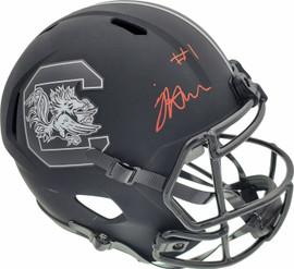 Jaycee Horn Autographed South Carolina Gamecocks Eclipse Black Replica Speed Full Size Helmet On Front Beckett BAS Stock #190012