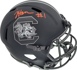 Jaycee Horn Autographed South Carolina Gamecocks Eclipse Black Replica Speed Full Size Helmet On Top Beckett BAS Stock #190013