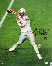 Justin Fields Autographed 16x20 Photo Ohio State Buckeyes Beckett BAS Stock #190017