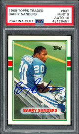 Barry Sanders Autographed 1989 Topps Traded Rookie Card #83T Detroit Lions Auto Grade 10 Card Grade Mint 9 PSA/DNA #48126451