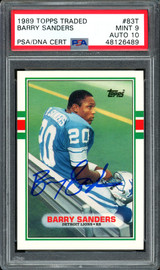 Barry Sanders Autographed 1989 Topps Traded Rookie Card #83T Detroit Lions Auto Grade 10 Card Grade Mint 9 PSA/DNA #48126489
