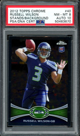 Russell Wilson Autographed 2012 Topps Chrome Rookie Card #40 Seattle Seahawks Auto Grade 10 Card Grade NM-MT 8 PSA/DNA #50463670