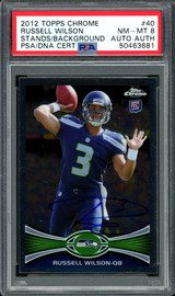 Russell Wilson Autographed 2012 Topps Chrome Rookie Card #40 Seattle Seahawks Card Grade NM-MT 8 PSA/DNA #50463681
