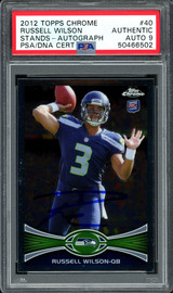 Russell Wilson Autographed 2012 Topps Chrome Rookie Card #40 Seattle Seahawks Auto Grade 9 PSA/DNA #50466502