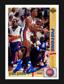 Dennis Rodman Autographed 1991-92 Upper Deck Card #185 Detroit Pistons Stock #190467
