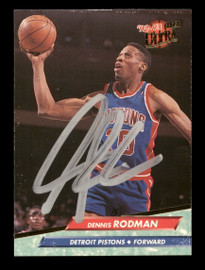Dennis Rodman Autographed 1992-93 Fleer Ultra Card #58 Detroit Pistons SKU #190475