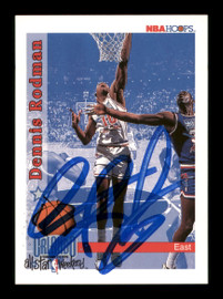 Dennis Rodman Autographed 1992-93 Hoops Card #302 Detroit Pistons SKU #190486