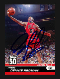 Dennis Rodman Autographed 2007-08 Topps 50th Anniversary Card #29 Chicago Bulls Stock #190499