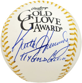 """Keith Hernandez Autographed Official Gold Glove MLB Baseball New York Mets """"11x Gold Gloves"""" Beckett BAS Stock #190503"""