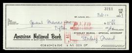 Stan Musial Autographed 3x8 Check St. Louis Cardinals SKU #190710