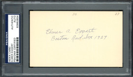Elmer A. Eggert Autographed 3x5 Index Card Boston Red Sox PSA/DNA #83862854