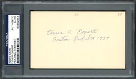 Elmer A. Eggert Autographed 3x5 Index Card Boston Red Sox PSA/DNA #83862854