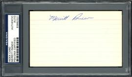 Merritt Ranew Autographed 3x5 Index Card Chicago Cubs, Seattle Pilots PSA/DNA #83862321