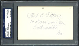 Paul C. Fittery Autographed 3x5 Index Card Cincinnati Reds, Philadelphia Phillies PSA/DNA #83862912