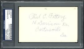 Paul C. Fittery Autographed 3x5 Index Card Cincinnati Reds, Philadelphia Phillies PSA/DNA #83862912