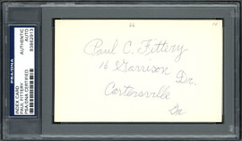 Paul C. Fittery Autographed 3x5 Index Card Cincinnati Reds, Philadelphia Phillies PSA/DNA #83862913