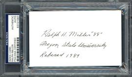 Ralph Miller Autographed 3x5 Index Card Oregon State University Beavers Coach PSA/DNA #83721087
