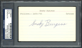 Smoky Burgess Autographed 3x5 Index Card Philadelphia Phillies, Cincinnati Reds PSA/DNA #83862103