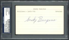 Smoky Burgess Autographed 3x5 Index Card Philadelphia Phillies, Cincinnati Reds PSA/DNA #83862103