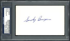 Smoky Burgess Autographed 3x5 Index Card Philadelphia Phillies, Cincinnati Reds PSA/DNA #83862104