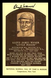 Lloyd Waner Autographed HOF Plaque Postcard Pittsburgh Pirates SKU #190936