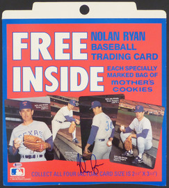 Nolan Ryan Autographed Mother's Cookies Sign Texas Rangers (Minor Crease) Beckett BAS #H10154