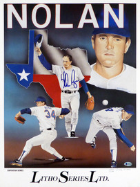 Nolan Ryan Autographed Superstar Series 18x24 Lithograph Photo Texas Rangers Beckett BAS #H10158