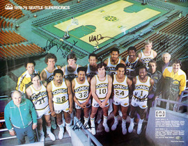1978-79 NBA Champions Seattle Supersonics Autographed 17x22 Poster Photo With 9 Total Signatures Including Fred Brown & Lenny Wilkens MCS Holo #51077