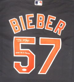 "Cleveland Indians Shane Bieber Autographed Blue Nike Jersey Size XL ""2020 AL Cy Young"" Beckett BAS Stock #190028"