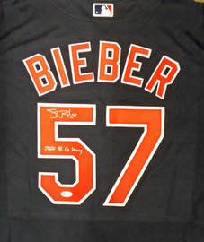 "Cleveland Indians Shane Bieber Autographed Blue Nike Jersey Size L ""2020 AL Cy Young"" Beckett BAS Stock #190029"