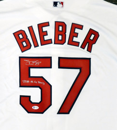 "Cleveland Indians Shane Bieber Autographed White Nike Jersey Size XL ""2020 AL Cy Young"" Beckett BAS Stock #190032"