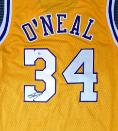 Los Angeles Lakers Shaquille O'Neal Autographed Yellow Jersey On 3 Beckett BAS Stock #191014