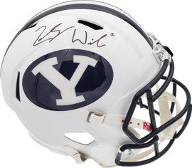 Zach Wilson Autographed BYU Cougars White Full Size Replica Speed Helmet Beckett BAS Stock #191105