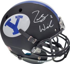 Zach Wilson Autographed BYU Cougars Matte Black Schutt Full Size Replica Helmet Beckett BAS Stock #191106